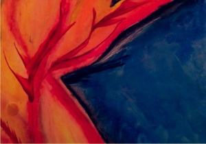 Fire Blue: Painting and photo by Noelle