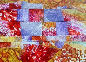 Encaustic on wax paper: Collage by Noelle